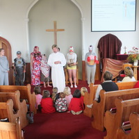 Easter Pantomime, March 2013 (L to R Debbie, guard, women, Jesus, chicken, bunny, (obscured) John the disciple)